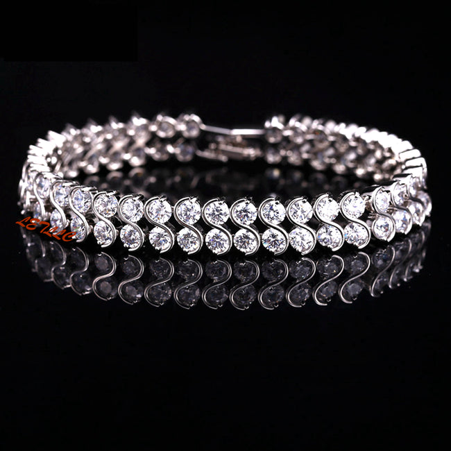 "Tennis Bracelet Top Cubic Zirconia Brilliant Cut 20ctw Double-row white 7.5"" Bridal by Lily Treacy"