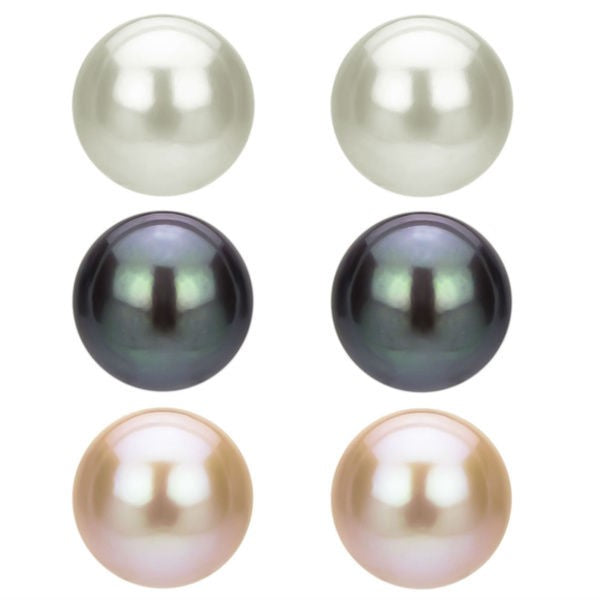 9-10mm white Freshwater Pearl Stud Earrings solid Sterling Silver back bridal