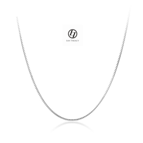 "18K Solid Yellow White Gold  Box Chain Necklace 16"" 18"" AU750 Men Women"