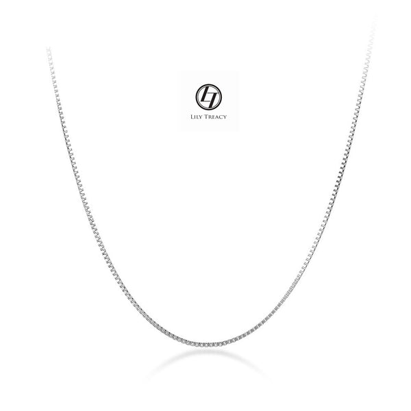 "18K Solid Yellow White Gold  Box Chain Necklace 16"" 17"" 18"" AU750 Men Women"