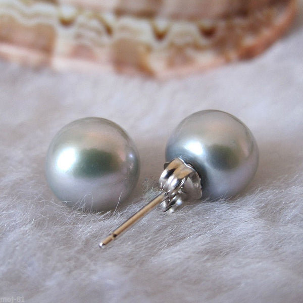 Lily Treacy 8-9mm Silver Gray Freshwater Pearl Stud Earring Sterling Silver Back