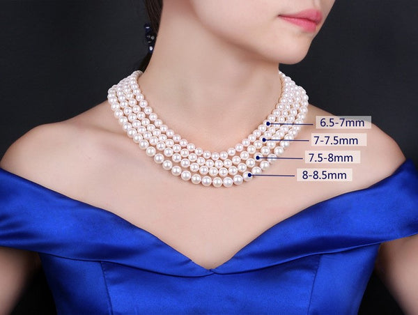 "Lily Treacy Japan Akoya Pearl Necklace Earrings set 18"" Earrings Solid gold Bridal Gift 7-7.5mm"