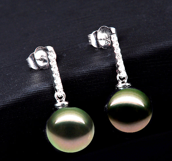 10-11mm Tahitian Pearl Solid White Gold & Diamonds Celina Earrings by Lily Treacy