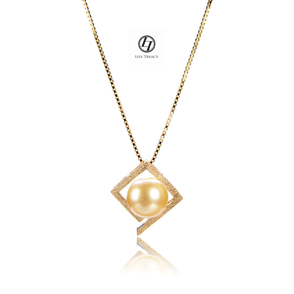 Lily Treacy 10-11mm Golden South Sea Pearl 14K Maria Pendant with Yellow Gold vermeil Chain