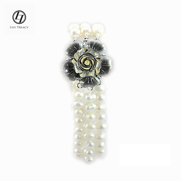 7-8mm Genuine Freshwater Pearl 3 Row Bracelet w/ mother of pearl Flower Clasp
