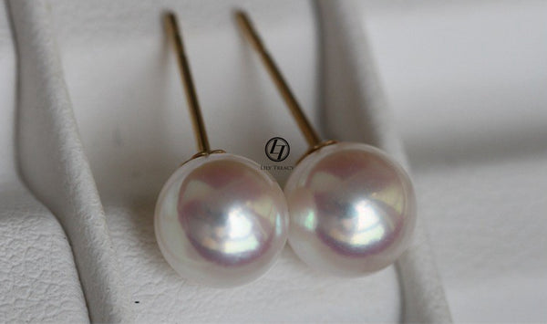 Lily Treacy Japanese Akoya Saltwater Pearl 18K Solid Yellow or white gold Stud Earrings 8.5-9mm 9-9.5mm Bridal gift