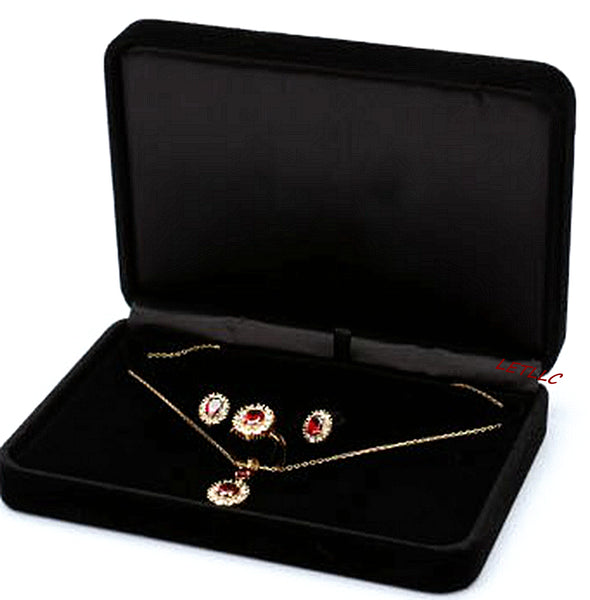 Lily Treacy Deluxe Large Jewelry Pearl Set Gift box Black Beige(white) Velvet for Necklace Earrings Rings Set