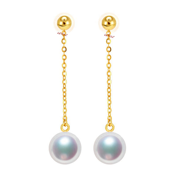 Lily Treacy Japanese Akoya pearl drop earrings solid gold ear studs pendant combo bridal 7.5-8mm