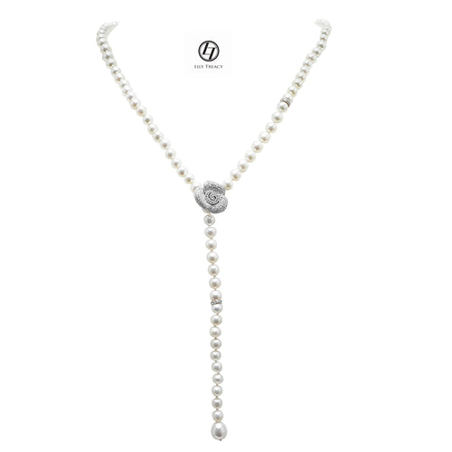 LilyTreacy Adjustable White Freshwater Pearl Necklace w/ CZ Rose Connector 30""