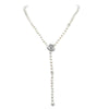 LilyTreacy Adjustable White Freshwater Pearl Necklace w/ CZ Rose Connector 30