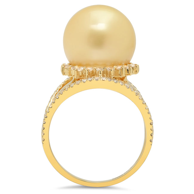 LILY TREACY 13-14MM GOLDEN SOUTH SEA PEARL DIAMOND LILLIAN RING
