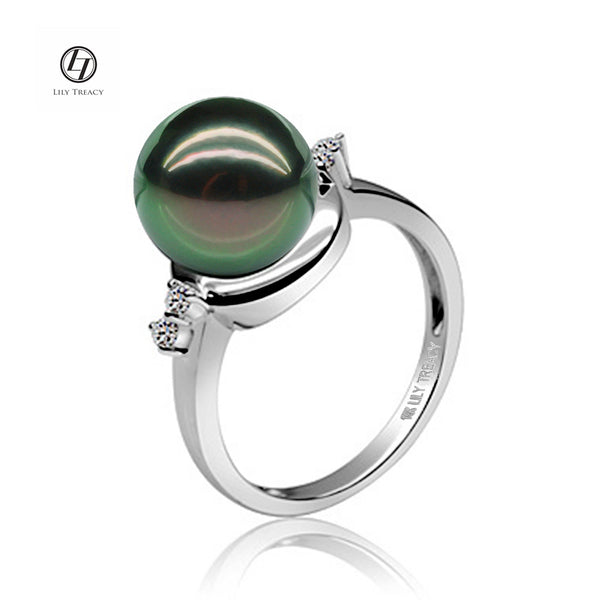 Lily Treacy 10-11mm Tahitian black Pearl Diamond 14K white gold ring sz 7