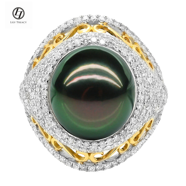 LILY TREACY 13-14MM TAHITIAN PEARL DIAMOND CLEO RING