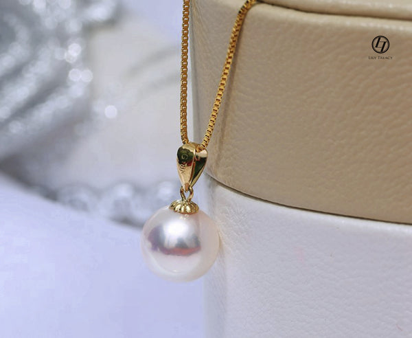Lily Treacy Japanese Akoya Pearl Pendant 18K Solid Yellow Gold 7.5-9.5mm Bridal June Birthstone