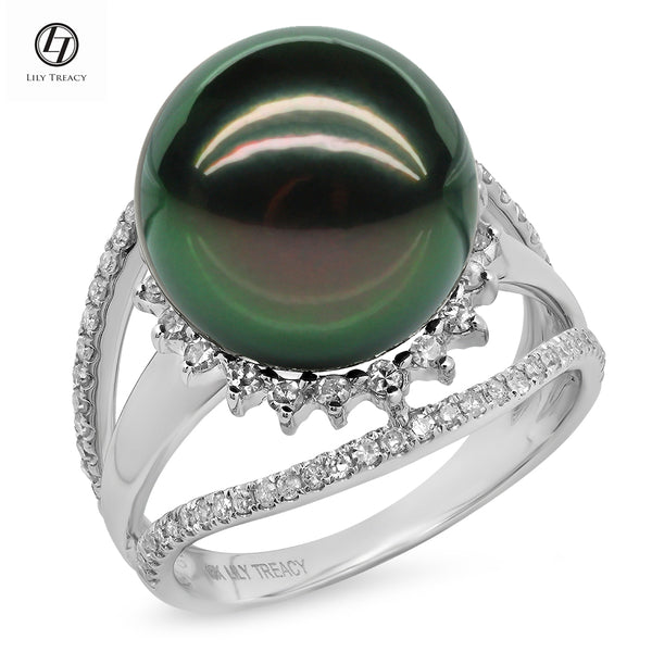 LILY TREACY 13-14MM TAHITIAN PEARL DIAMOND LILLIAN RING