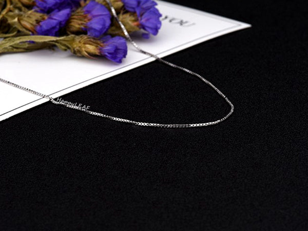 S925 TOP QUALITY Sterling Silver 18K Yellow White Rose Gold Vermeil Box Chain Necklace