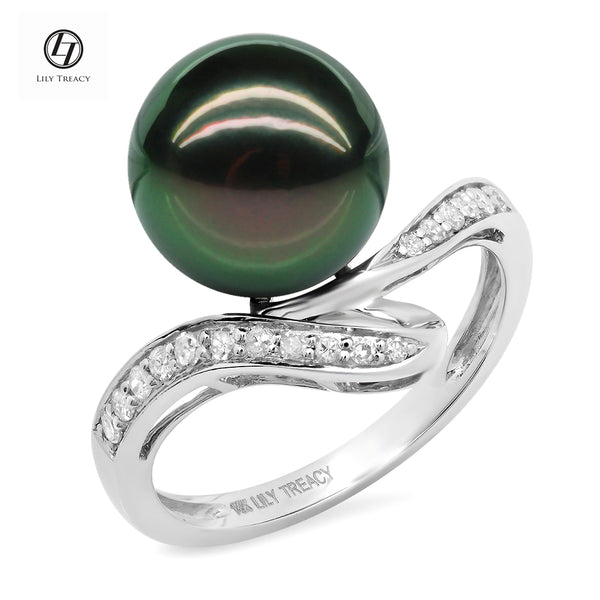 Lily Treacy 10-11mm Tahitian Pearl Solid White Gold Diamond Renee Ring