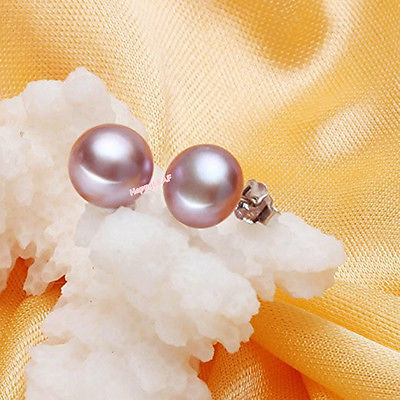 9-10mm Genuine purple Freshwater Pearl Stud Earring w/ Sterling Silver Back gift