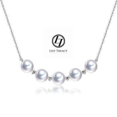 "LilyTreacy Akoya Pearls White Gold diamond Station Necklace 18"" with extention"