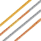 Solid 18K Tri color Yellow,White & Rose Gold 3 tone Diamond-cut chunky Adjustable Wheat Chain 20