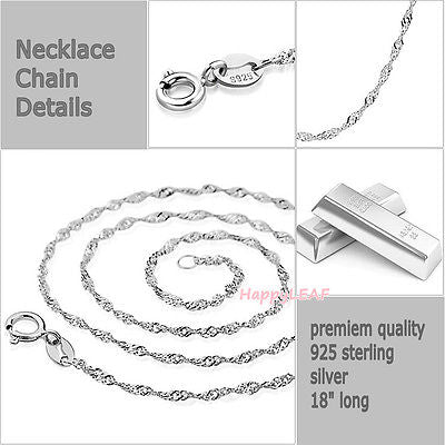 925 Sterling Silver Water Wave Singapore Chain Solid PremiumQuality Necklace 18""