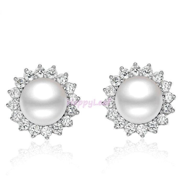 e646a6d7b Stunning white Freshwater pearl Stud Earrings Sterling Silver CZHalo G –  Lily Treacy