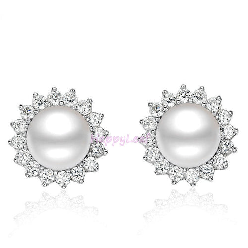 Stunning white Freshwater pearl Stud Earrings Sterling Silver CZHalo Gift bridal
