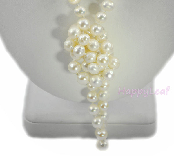 "7-8mm Freshwater Pearl white multi-color Opera 50"" long endless Strand Necklace"
