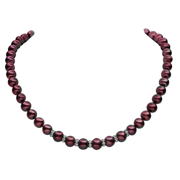 "Lily Treacy 9-10mm Freshwater Pearl Necklace Strand Ada 18"" RARE COLOR! metallic aubergine"