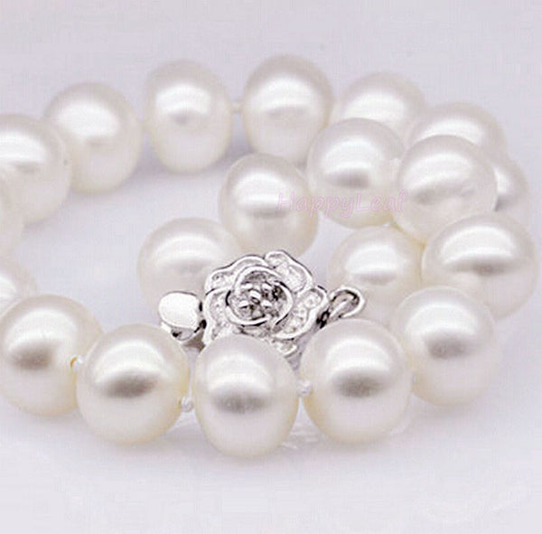 "11-13mm white large Freshwater Pearl necklace strand 18"" & bracelet 8.5""set bridal"