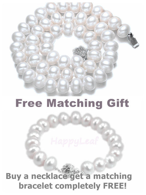 "11-13mm white large Freshwater Pearl necklace strand 18""&bracelet 8.5""set bridal"