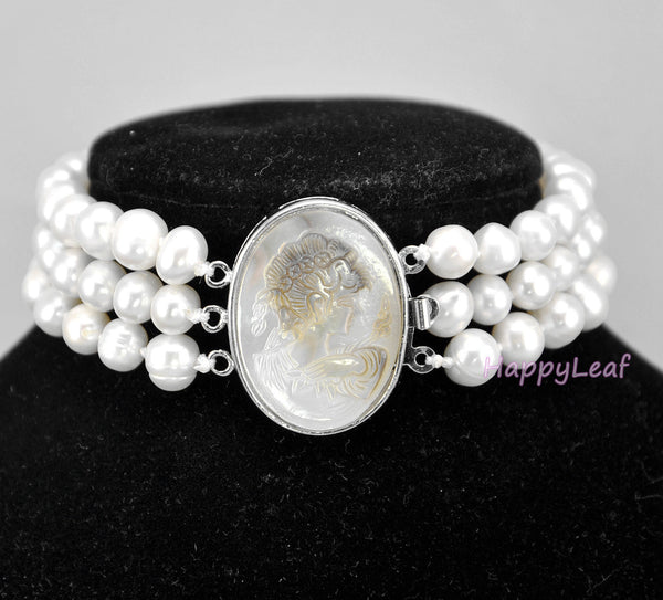 7-8mm Freshwater Pearl 3 Row Bracelet with Mother of Pearl Victorian Cameo