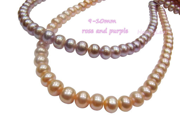 9-10mm Freshwater Pearl white pink purple multi-color Necklace Magnetic Clasp