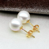 8-9mm Freshwater Pearl 14K Solid Gold Stud Earrings White Perfect Round