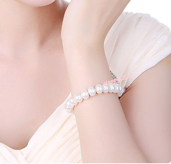 "9-10mm Freshwater Pearl Bracelet 925 Sterling Silver Clasp 8.5"" Bridal Wedding Gift"