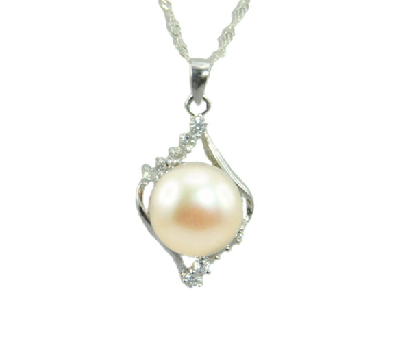 "11mm white Freshwater Pearl Sterling Silver CZ Pendant Necklace Chain 18"" Bridal"