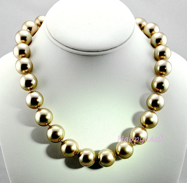 15-16mm Large Top Quality SEASHELL Pearl Strand Necklace white black gold 18""