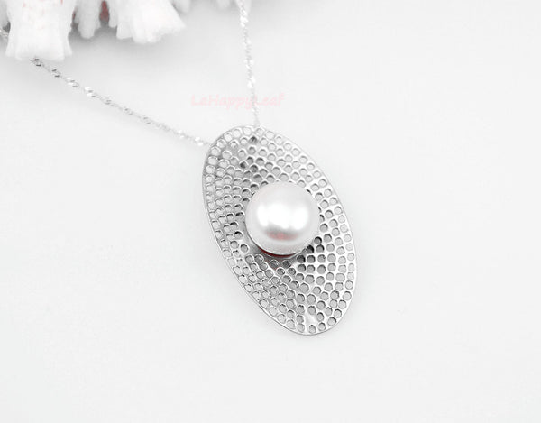 11-12mm White Freshwater Pearl Sterling Silver Pendant Necklace Chain bridal 18""