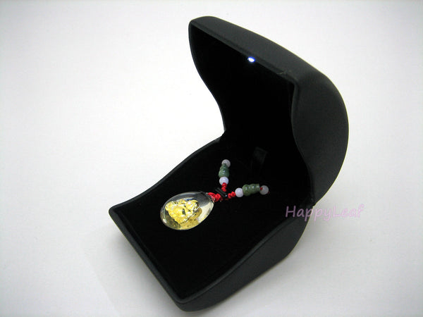 LilyTreacy PU LeatherJewelry necklace Pendant Box Case with LED light BroochGift