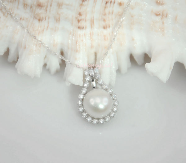 11-13mm Freshwater Pearl in Diamonique 925 sterling silver pendant Necklace 18""
