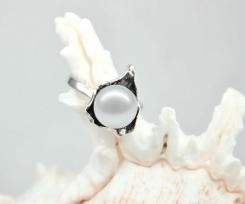 10-11mm white Freshwater pearl 925 Sterling Silver *The Wave* Ring Size 8