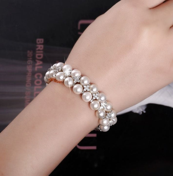 LilyTreacy Pearl Bracelet double row Quality 8mm Shell Pearl & Top CZ white 7.5""