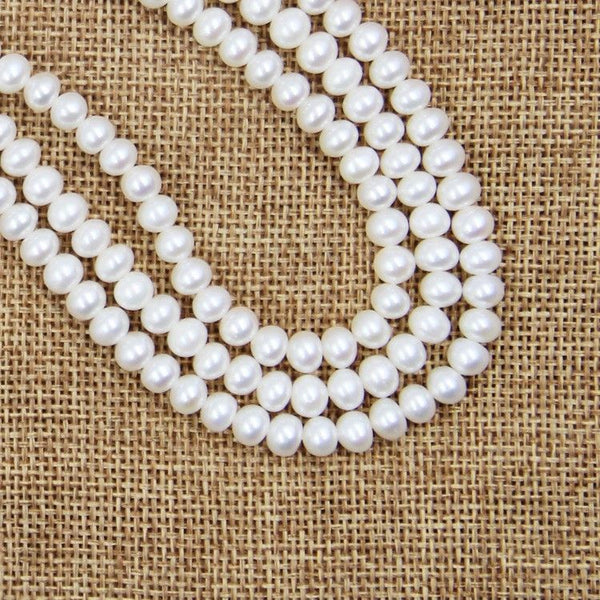 "5-6mm White Freshwater Pearl Sterling Silver Clasp Necklace Strand 18"" Bridal"