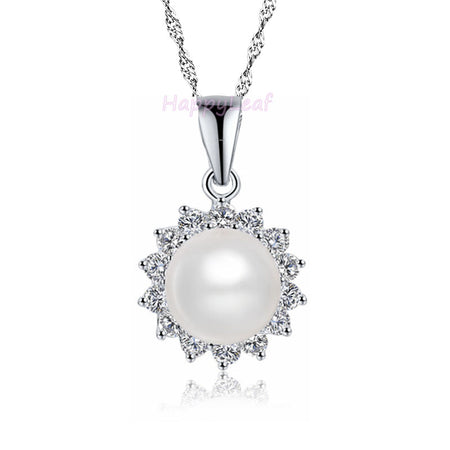 LilyTreacy white black Freshwater Pearl Diamonique 925silver pendant Necklace18""