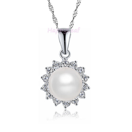 10-11mm white Freshwater Pearl Sterling Silver Russian CZ Pendant Necklace 18""