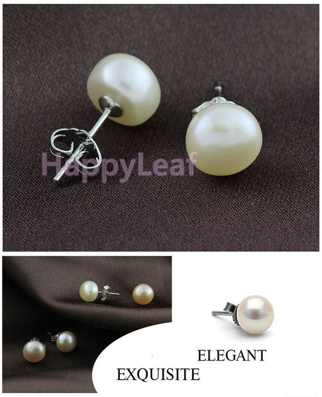 7-8mm White Freshwater Pearl Stud Earring Sterling w/ Silver post & back bridal