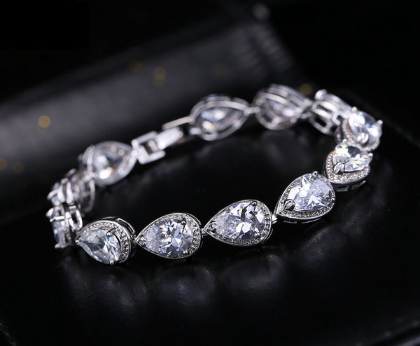 "Tennis Bracelet Top CZ Pear Cut 23ctw 6.5""- 8"" w/ extension white Gift Bridal"