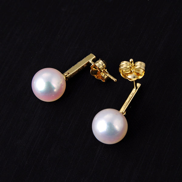 Lily Treacy 7.5-8mm akoya Pearl dangle earrings 14K Gold and Diamond Celine Earrings
