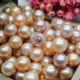 9-10mm Freshwater Pearl Necklace Strand Metallic Rose Pink 18