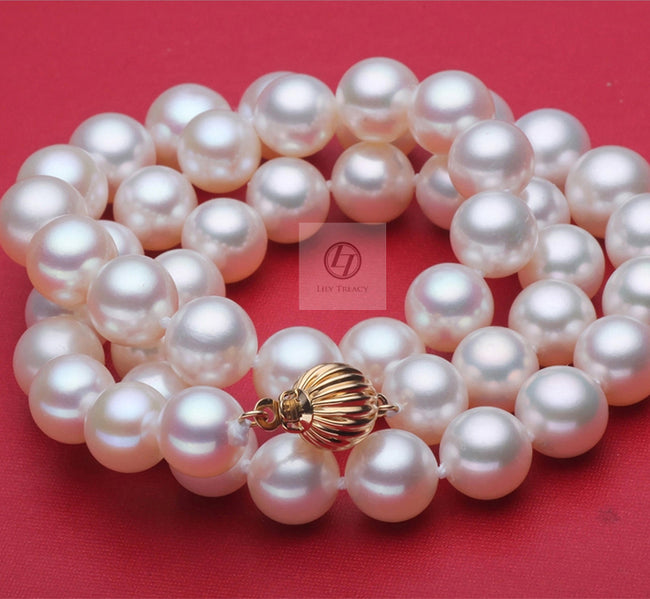 Lily Treacy 11-12mm Top Quality white Freshwater pearl necklace strand with 14K solid gold clasp 18″